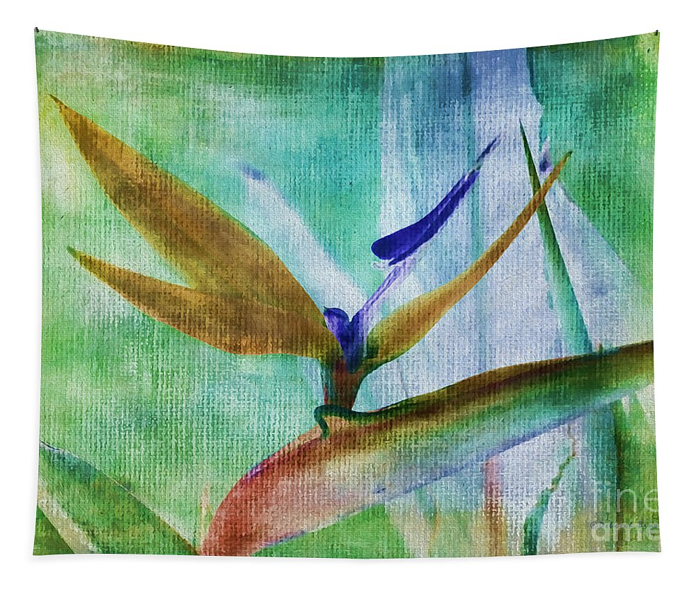 Bird Paradise Tapestry featuring the photograph Bird Of Paradise Watercolor by Deborah Benoit