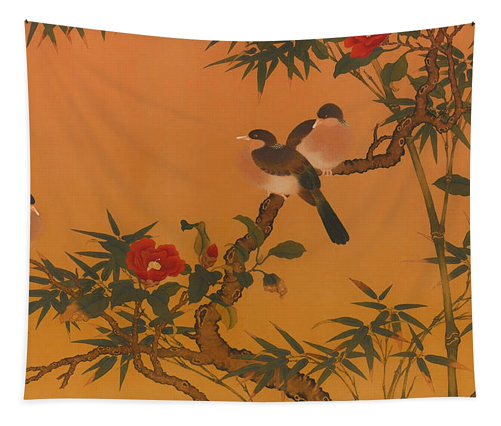 Painting Tapestry featuring the painting Birds Bamboo And Camellias by Mountain Dreams