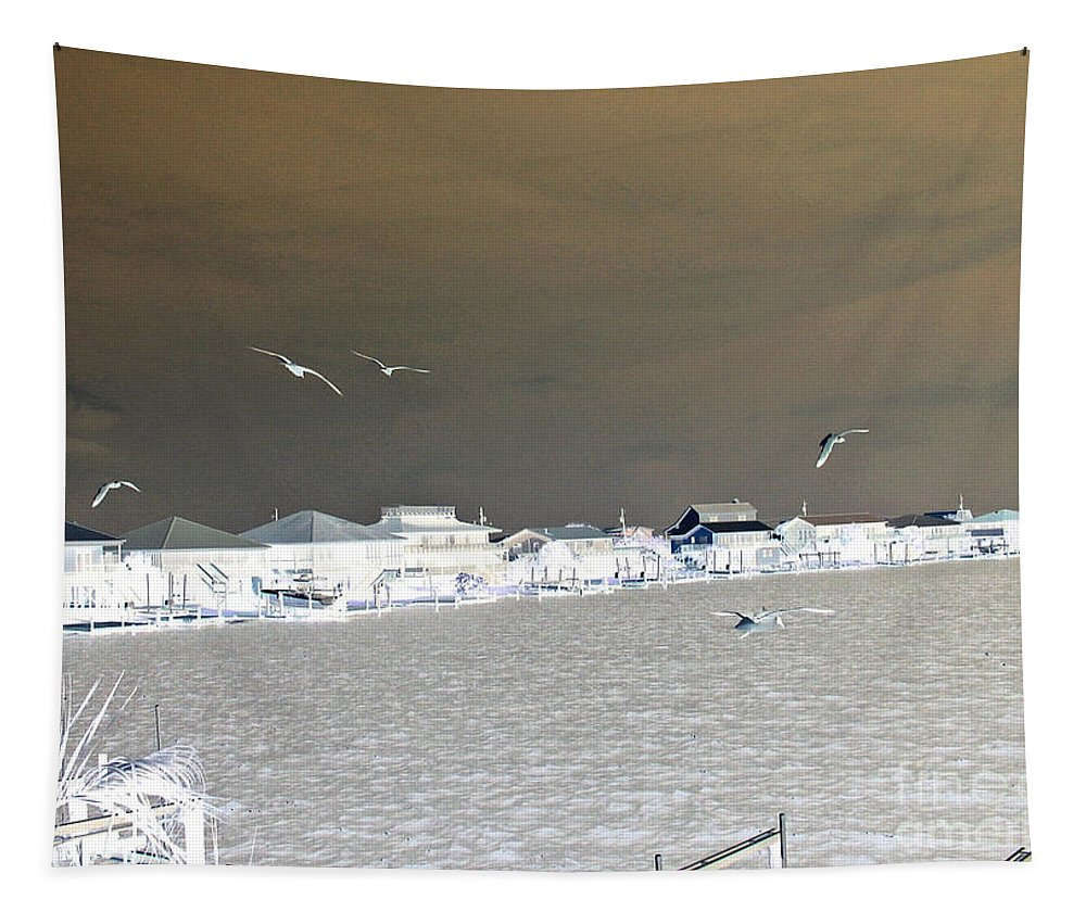 Birds In Flight Tapestry featuring the photograph Birds In Flight Over Lafitte Bay by Marian Bell