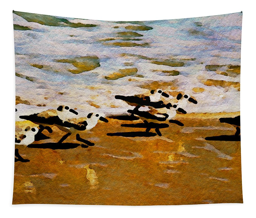 Birds Ocean Beach Alicegipsonphotographs Tapestry featuring the photograph Birds In The Surf by Alice Gipson