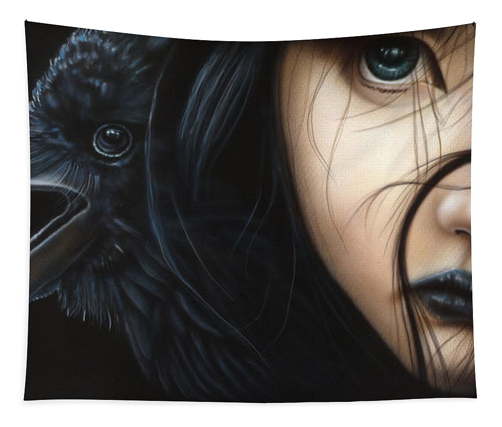 North Dakota Artist Tapestry featuring the painting Birds Of Prey- Raven by Wayne Pruse