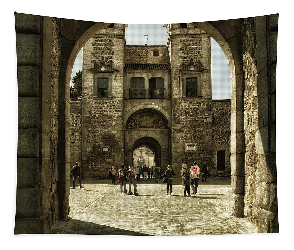 Ages Tapestry featuring the photograph Bisagra Gate And Courtyard by Joan Carroll