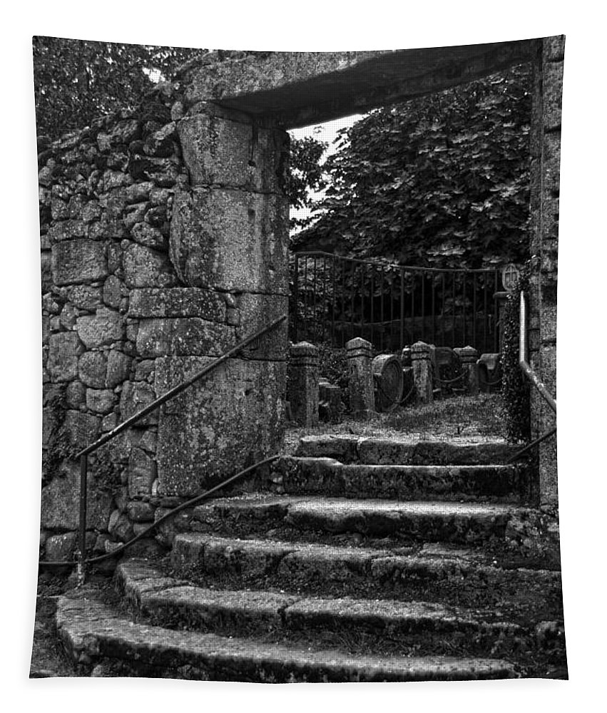 Tui Tapestry featuring the photograph Bishop's Palace Gardens Bw by RicardMN Photography