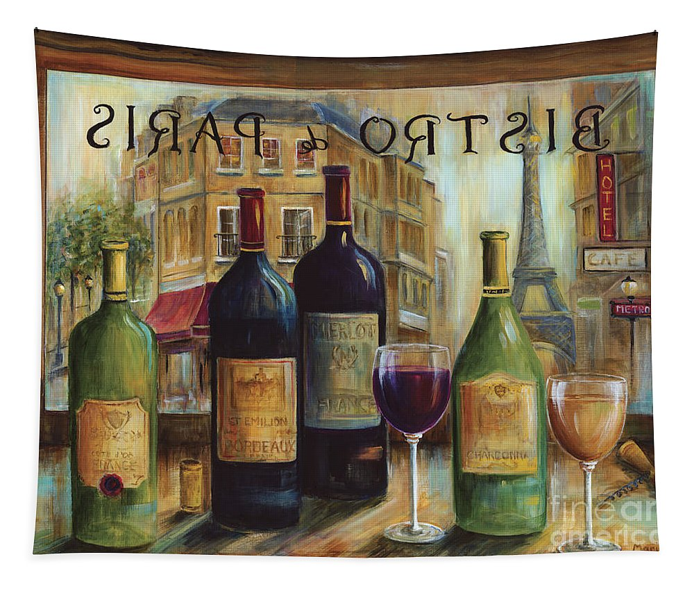 Wine Tapestry featuring the painting Bistro De Paris by Marilyn Dunlap