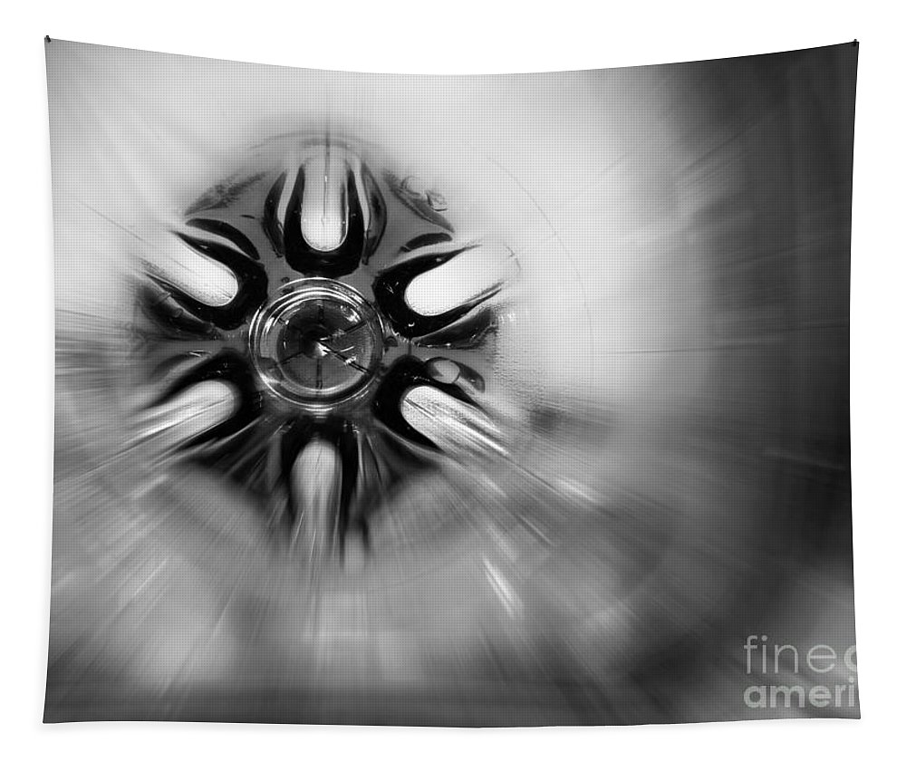 Abstract Tapestry featuring the photograph Black And White Abstract Burst by Karen Adams