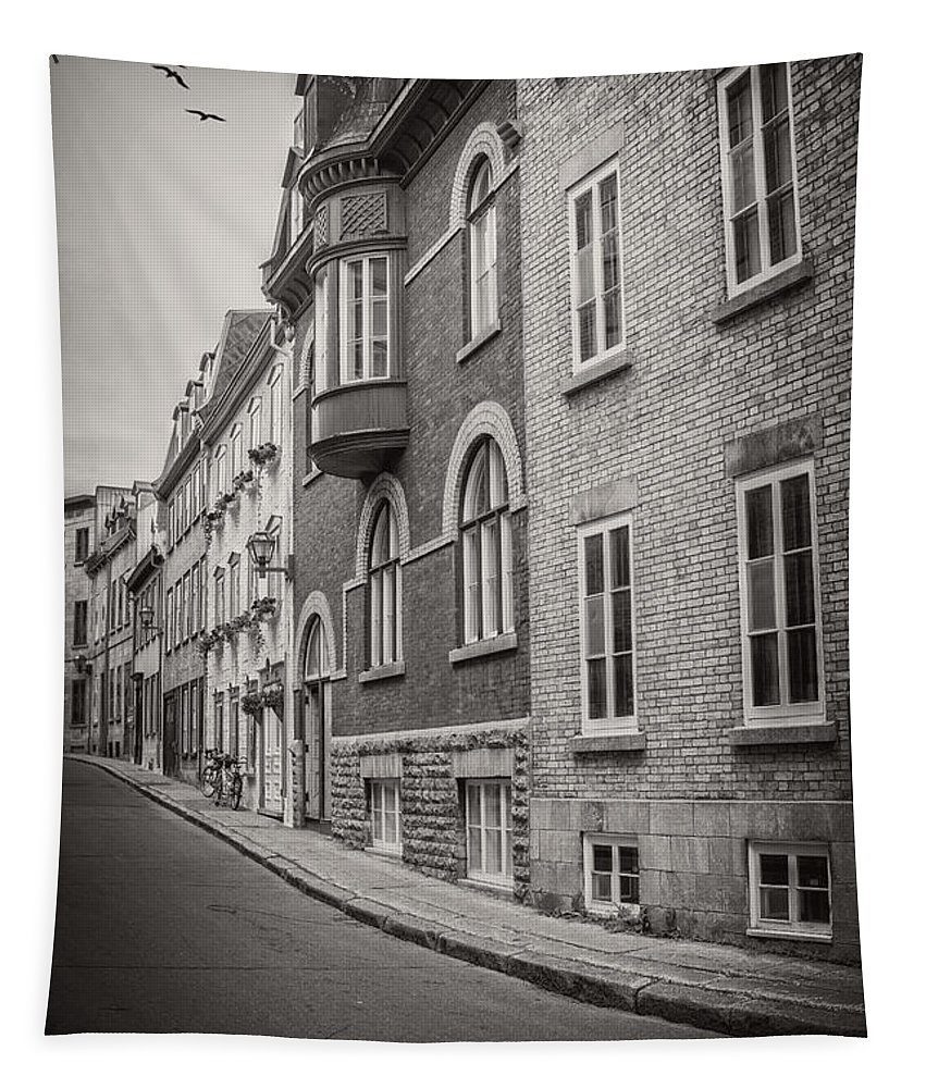 Canada Tapestry featuring the photograph Black And White Old Style Photo Of Old Quebec City by Edward Fielding