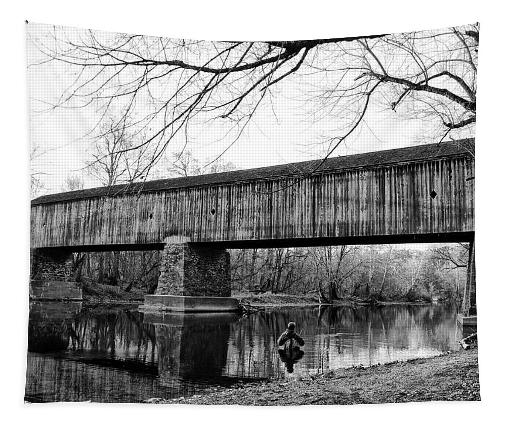 Schofield Tapestry featuring the photograph Black And White Schofield Ford Covered Bridge by Bill Cannon