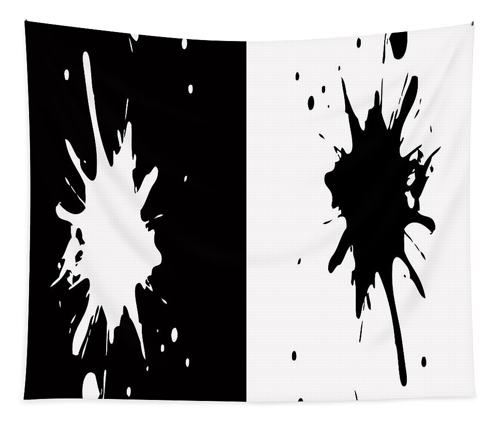 Splashes Digital Tapestry featuring the painting Black And White Splashes Digital Painting by Georgeta Blanaru