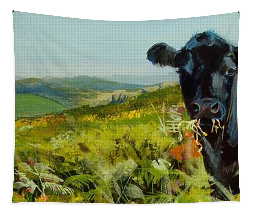 Dartmoor Tapestry featuring the painting Black Cow Dartmoor by Mike Jory
