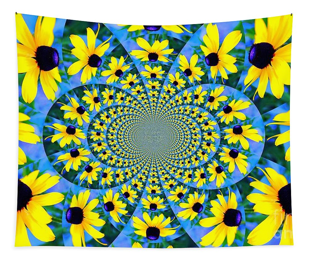 Black Eyed Susan Kaliedoscope Tapestry featuring the photograph Black Eyed Susan Kaleidoscope by Judy Palkimas