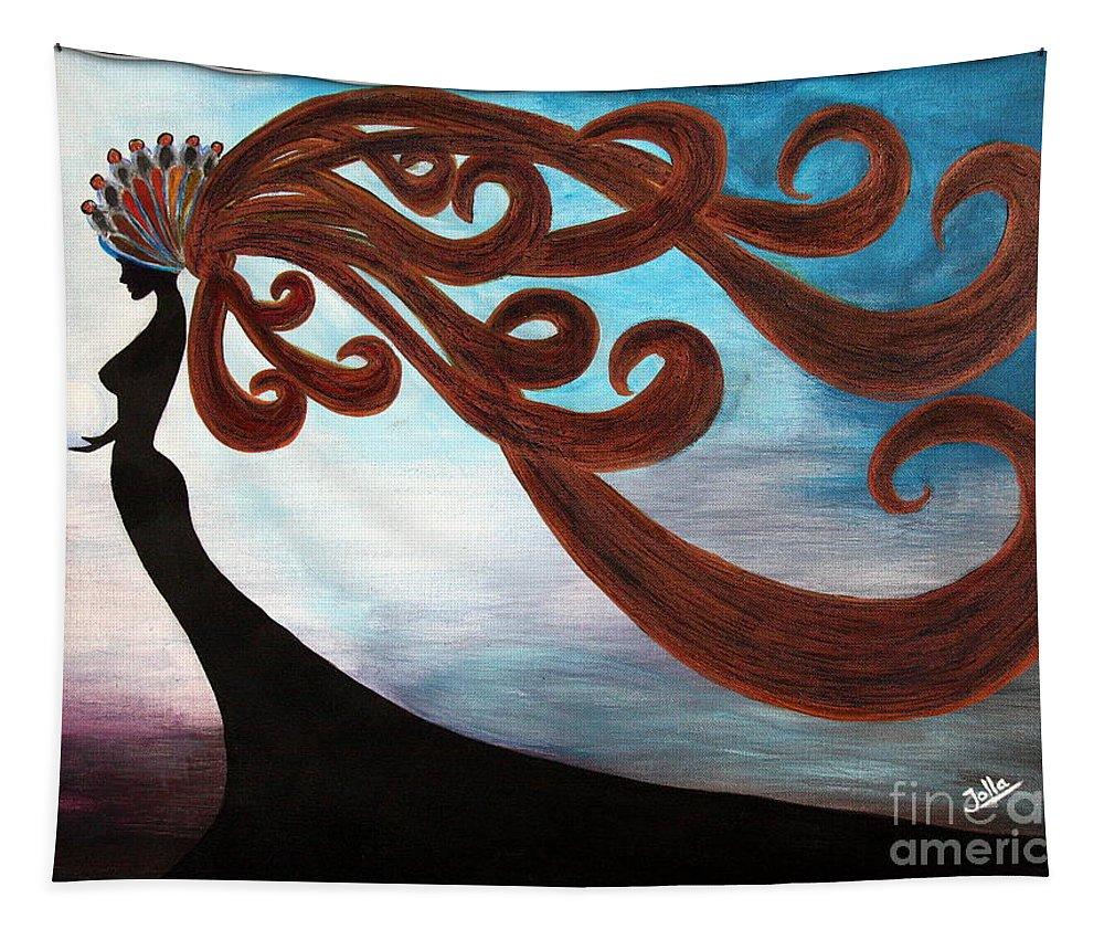 Fantasy Tapestry featuring the painting Black Magic Woman by Jolanta Anna Karolska