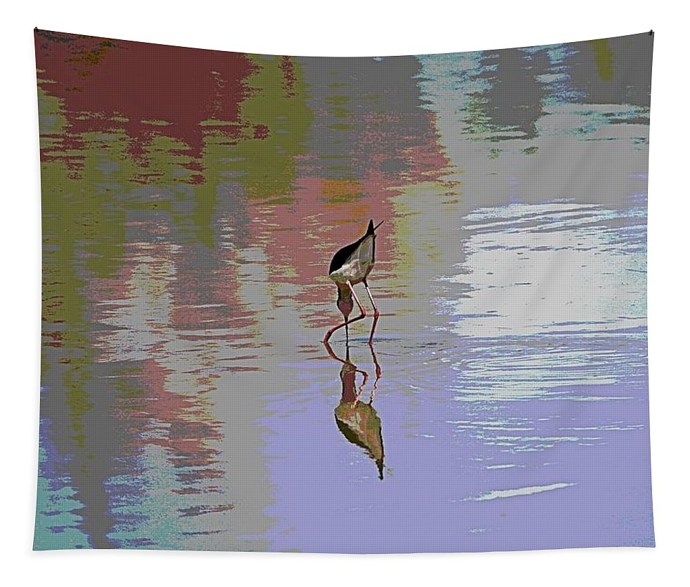 Black Neck Stilt Tapestry featuring the photograph Black Neck Stilt Out In The Pond by Tom Janca