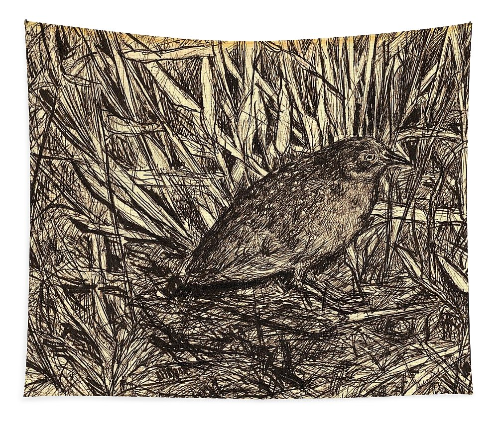 Bird Tapestry featuring the drawing Black Rail by Kendall Kessler