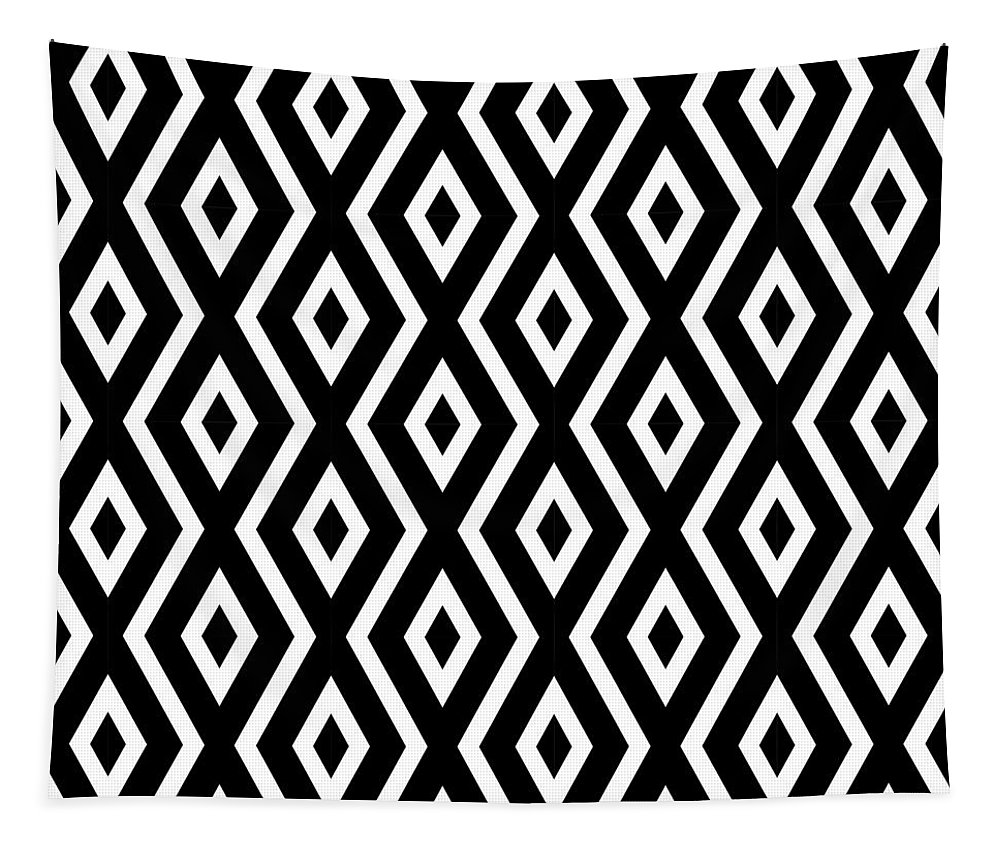 Black And White Tapestry featuring the mixed media Black And White Pattern by Christina Rollo