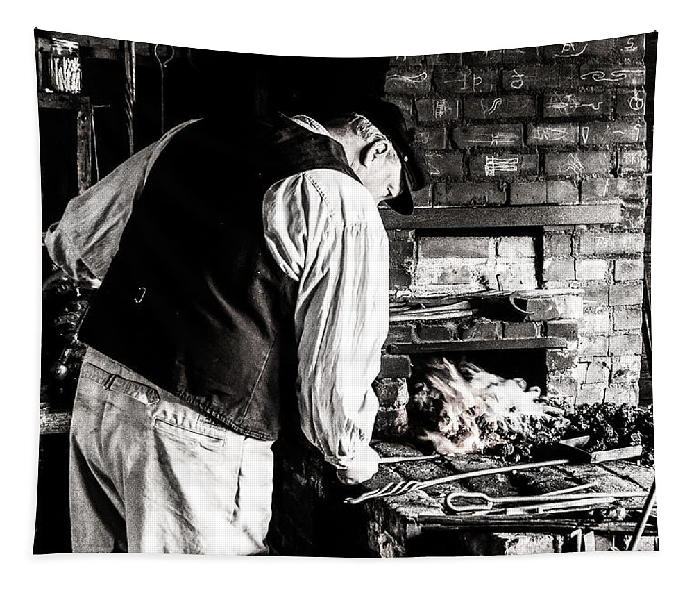 Jay Stockhaus Tapestry featuring the photograph Blacksmith by Jay Stockhaus