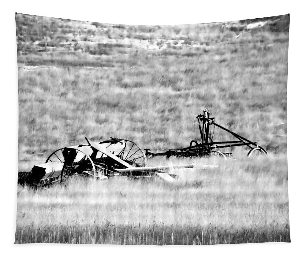 Landscape Tapestry featuring the photograph Black And White Of Old Farm Equipment by Jeff Swan