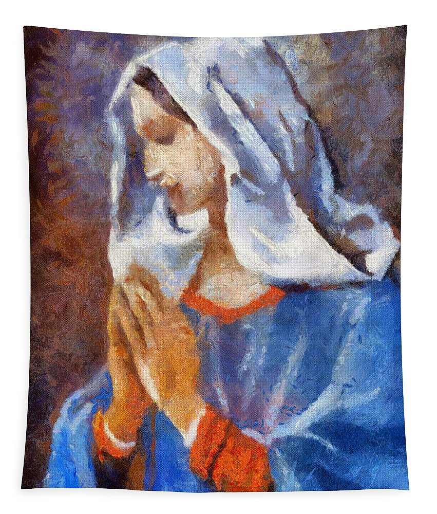 Woman Tapestry featuring the painting Blessed Mary by Thomas Woolworth