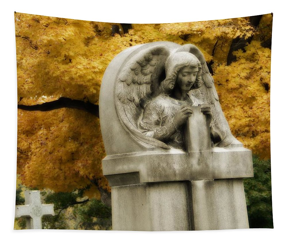 Stone Angel Art Tapestry featuring the photograph Blissful Angel In Autumn by Gothicrow Images