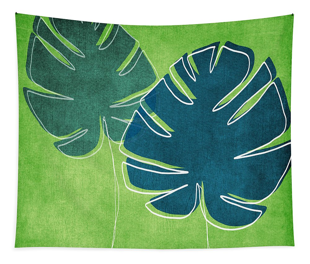 Palm Tree Tapestry featuring the painting Blue And Green Palm Leaves by Linda Woods