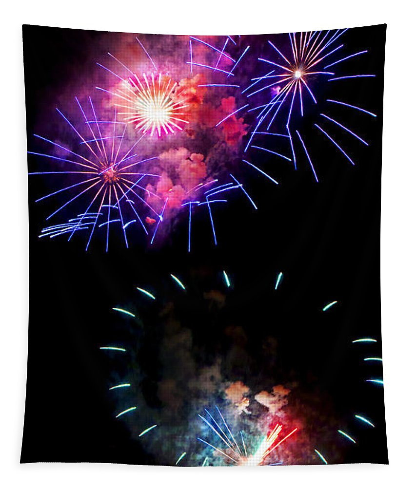 Fireworks Tapestry featuring the photograph Blue And Red Firework Disks by Weston Westmoreland
