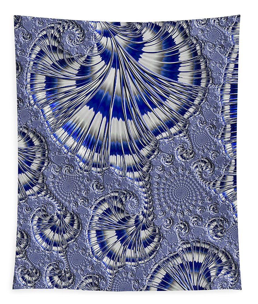 Fractal Tapestry featuring the photograph Blue And Silver 1 by Steve Purnell