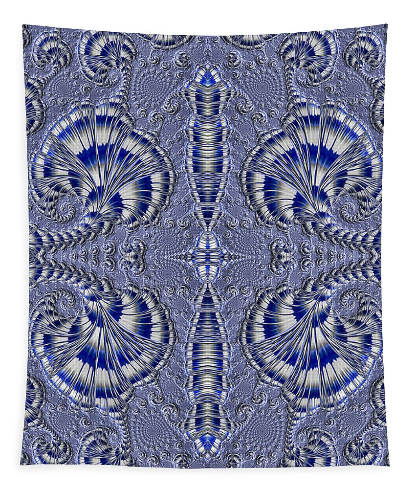 Fractal Tapestry featuring the photograph Blue And Silver 2 by Steve Purnell