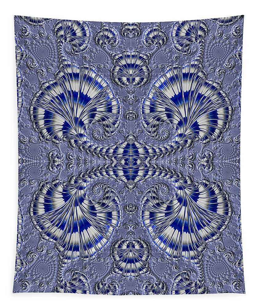 Fractal Tapestry featuring the photograph Blue And Silver 3 by Steve Purnell