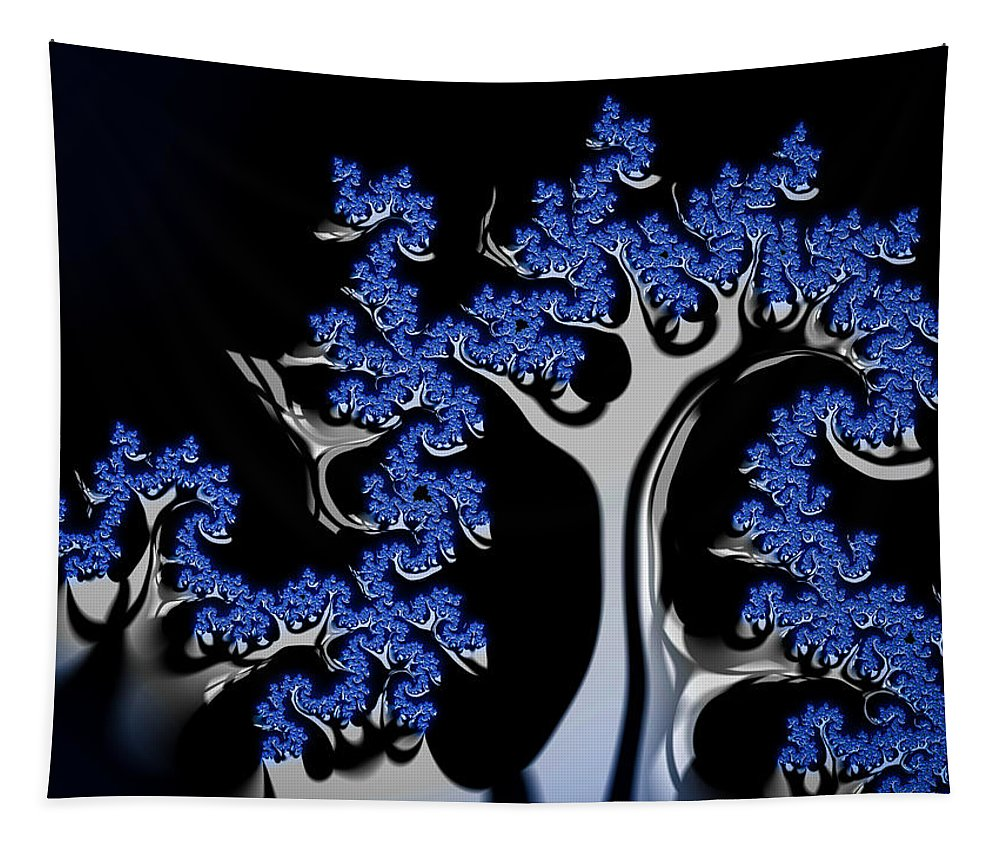 Blue Tapestry featuring the digital art Blue And Silver Fractal Tree Abstract Artwork by Matthias Hauser