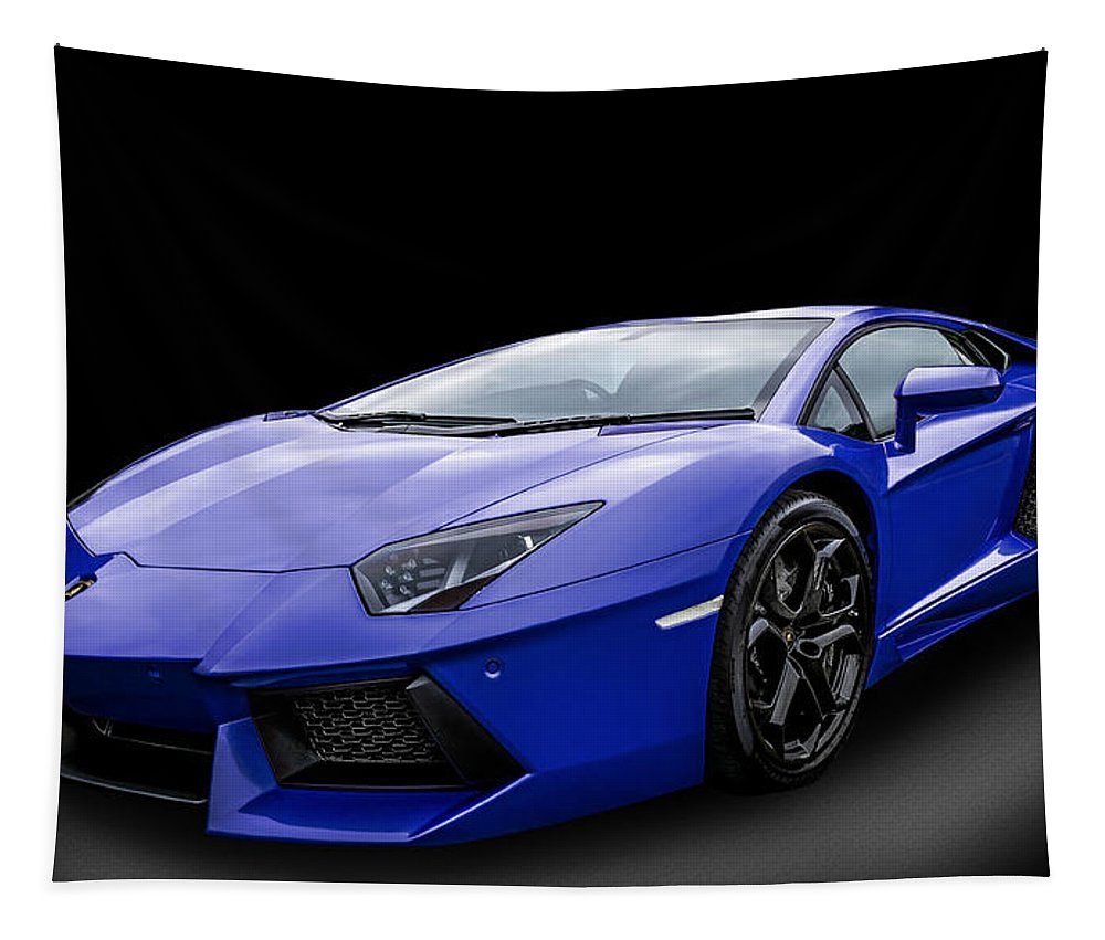 Blue Tapestry featuring the photograph Blue Aventador by Matt Malloy
