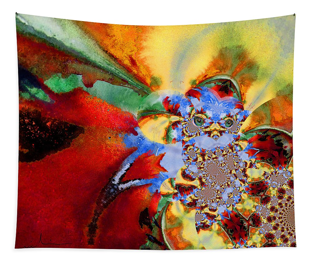 Fractal Tapestry featuring the painting Blue Baby Birth by Miki De Goodaboom