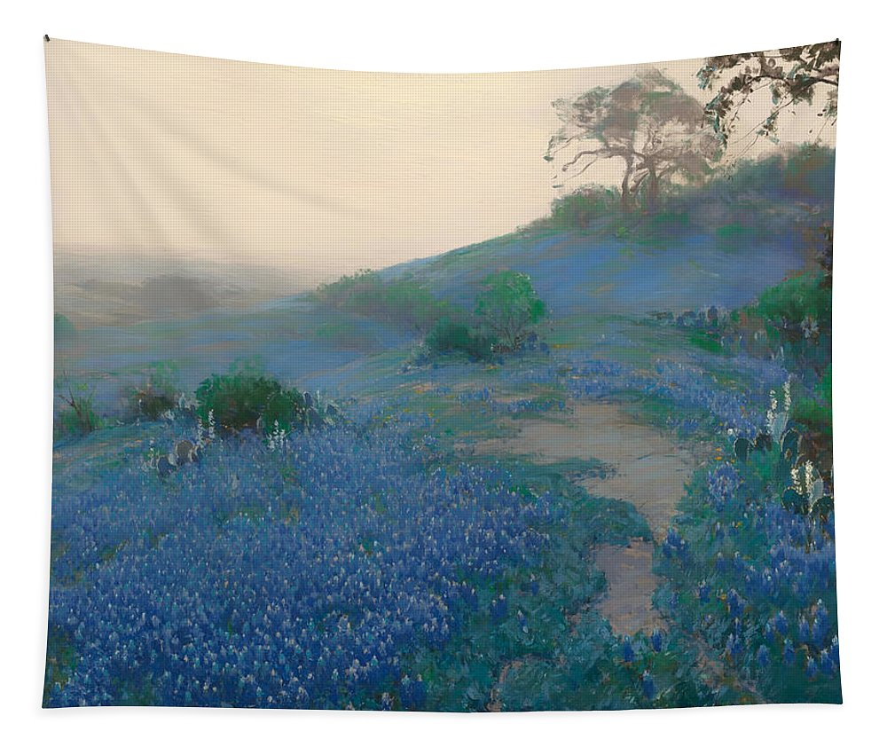 San Antonio Tapestry featuring the painting Blue Bonnet Field In San Antonio by Mountain Dreams