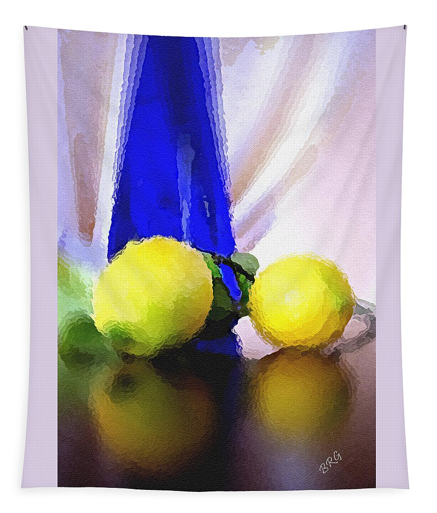 Still Life Tapestry featuring the photograph Blue Bottle And Lemons by Ben and Raisa Gertsberg