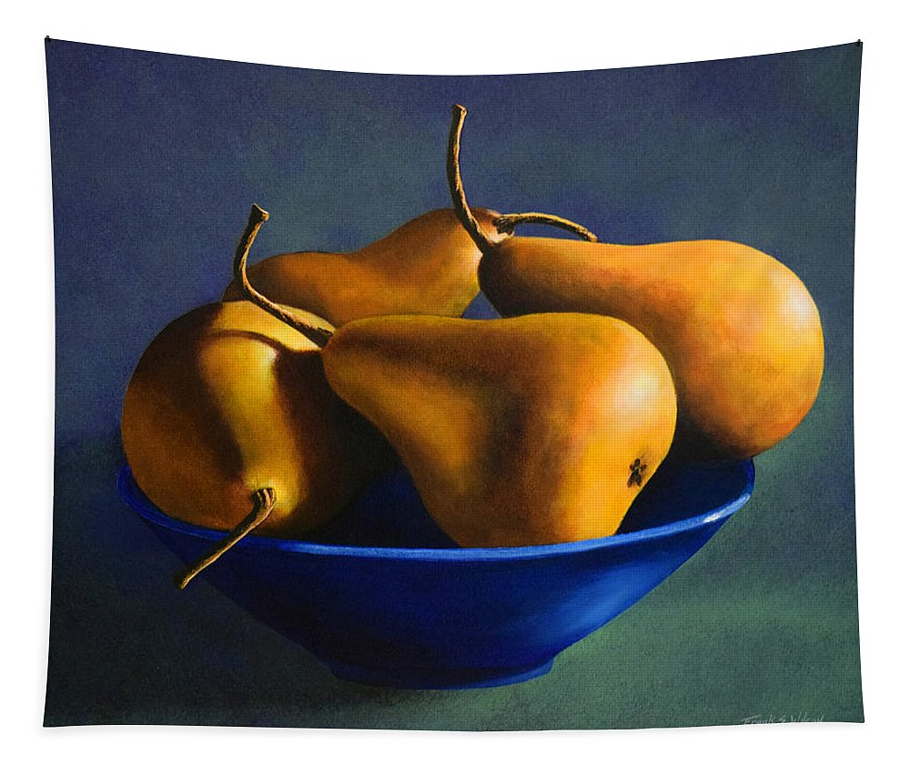 Still Life Tapestry featuring the painting Blue Bowl With Four Pears by Frank Wilson