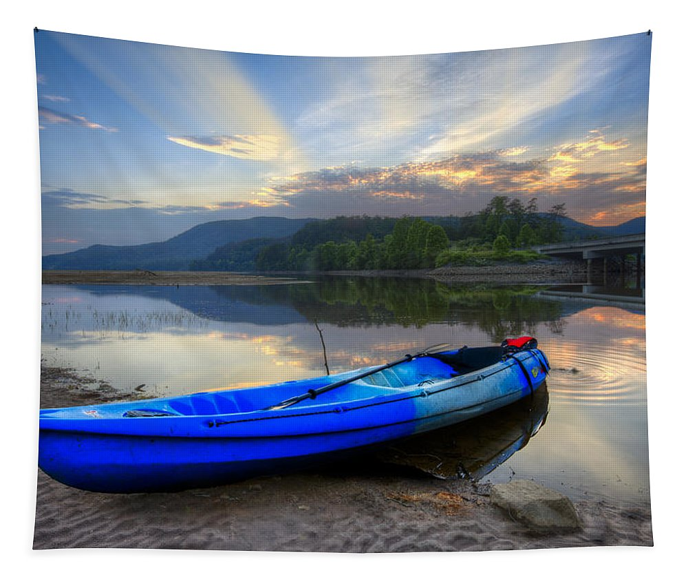 Appalachia Tapestry featuring the photograph Blue Canoe At Sunset by Debra and Dave Vanderlaan