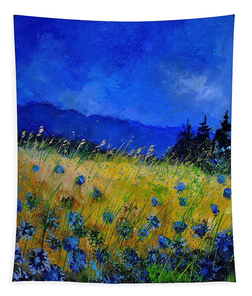 Flowers Tapestry featuring the painting Blue Conflowers 454150 by Pol Ledent