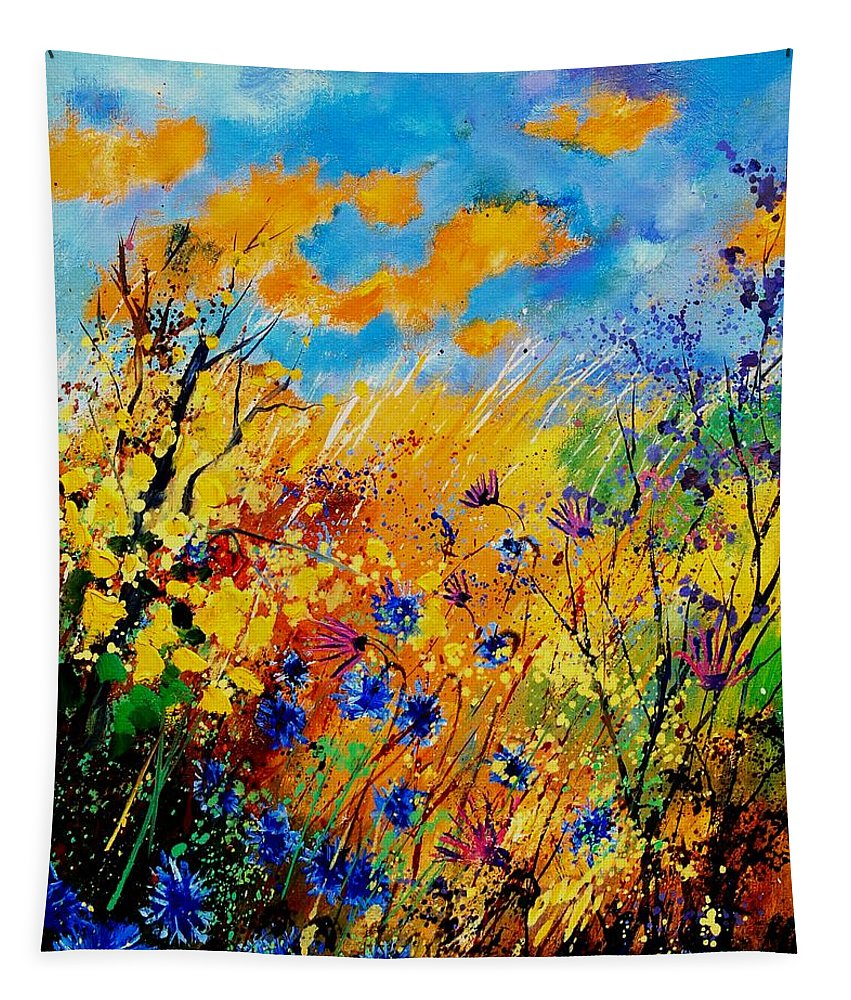 Poppies Tapestry featuring the painting Blue cornflowers 450408 by Pol Ledent