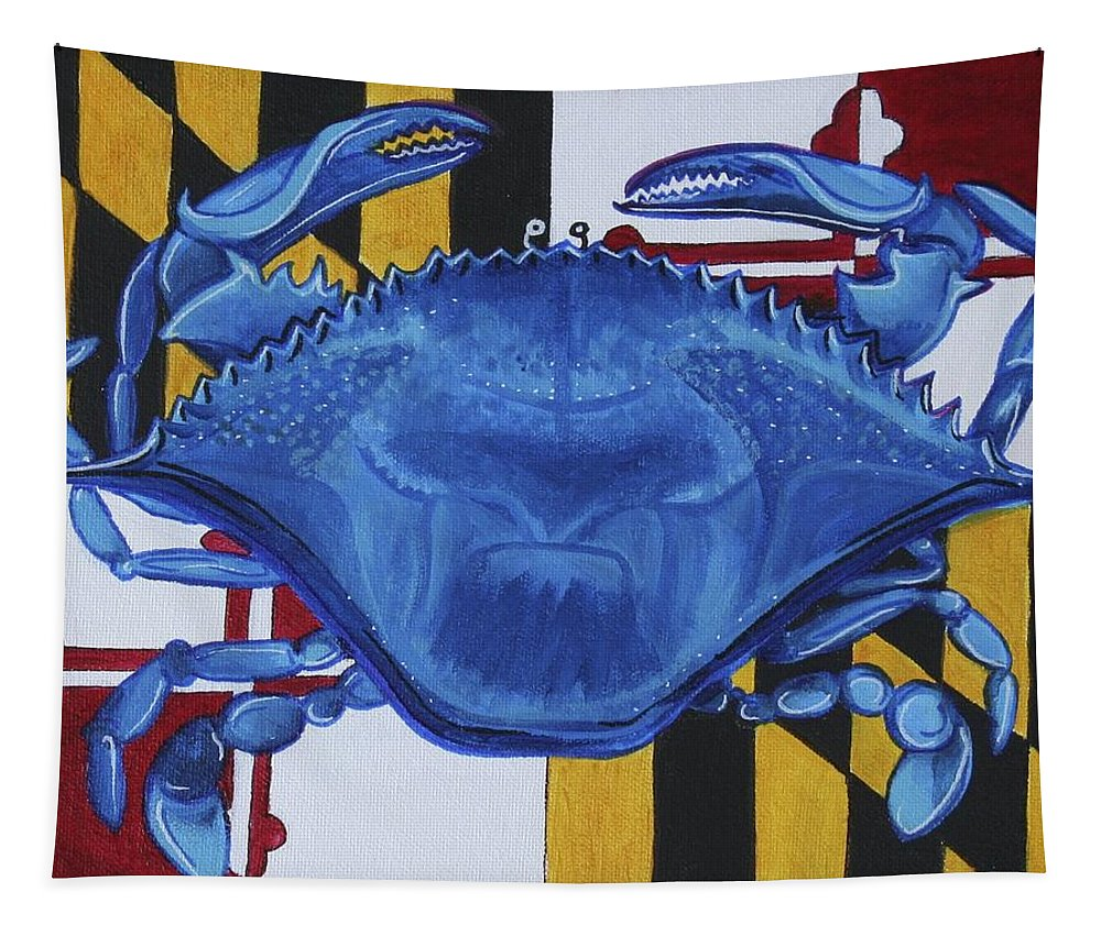 Maryland Tapestry featuring the painting Blue Crab by Kate Fortin