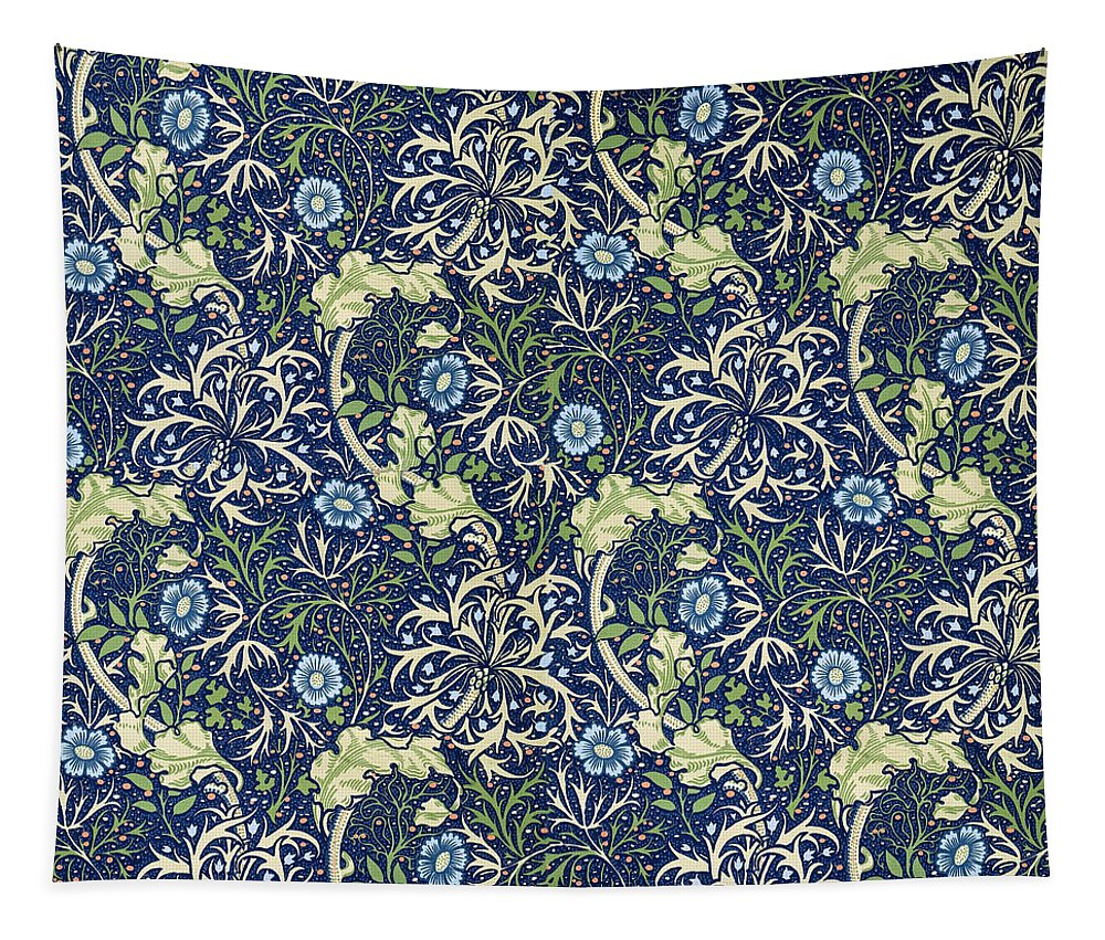 William Tapestry featuring the tapestry - textile Blue Daisies Design by Philip Ralley