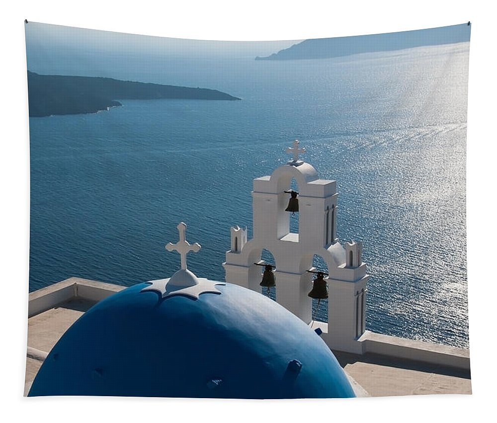 Michalakis Ppalis Tapestry featuring the photograph Blue Domed Church In Santorini Greece by Michalakis Ppalis