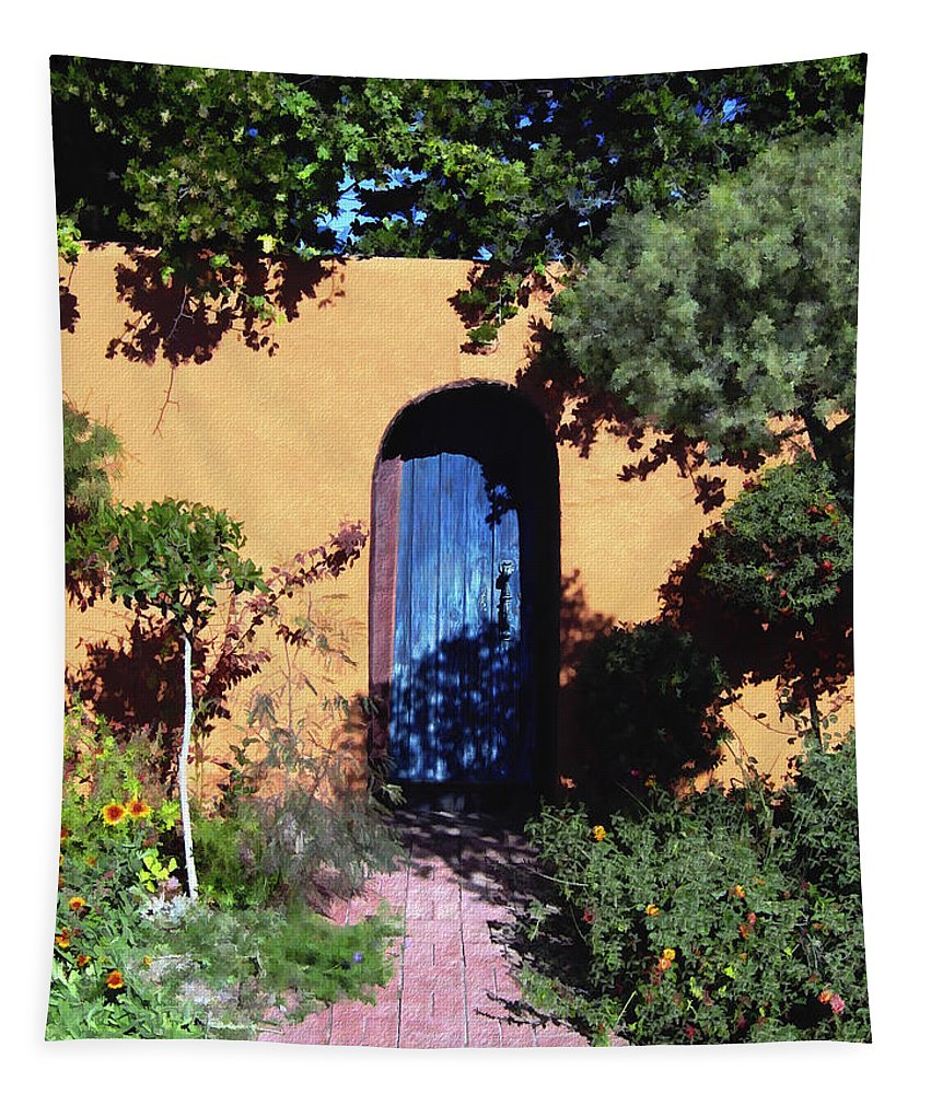 Blue Door Tapestry featuring the photograph Blue Door At Old Mesilla by Kurt Van Wagner