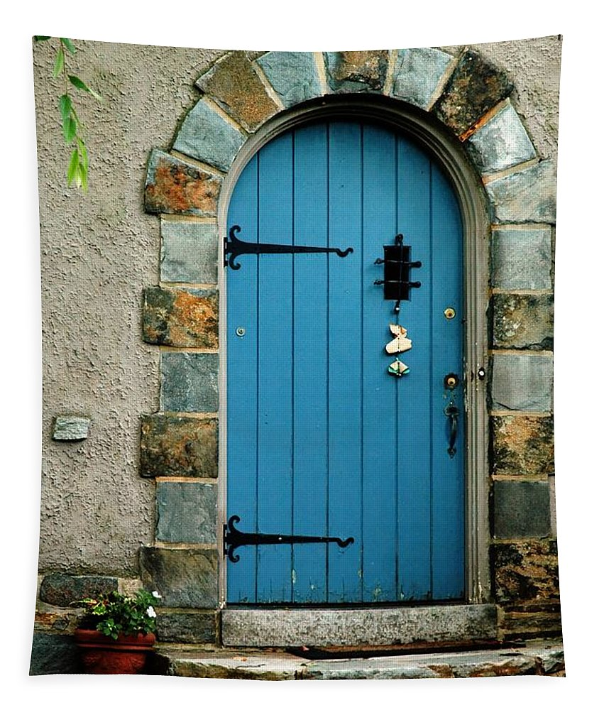 Blue Tapestry featuring the photograph Blue Door In Baltimore by Linda Covino