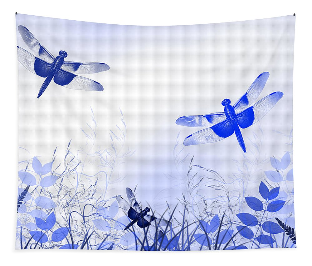 Blue Dragonflies Tapestry featuring the mixed media Blue Dragonfly Art by Christina Rollo