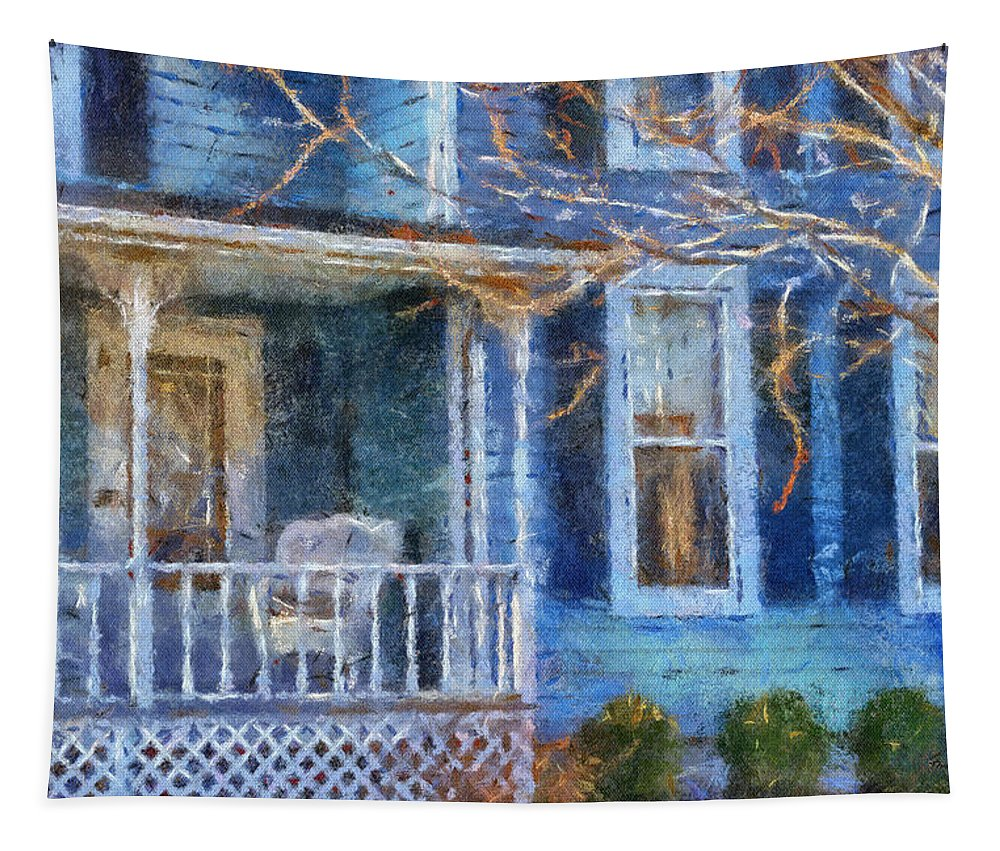 Front Porch Tapestry featuring the photograph Blue Front Porch Photo Art 01 by Thomas Woolworth