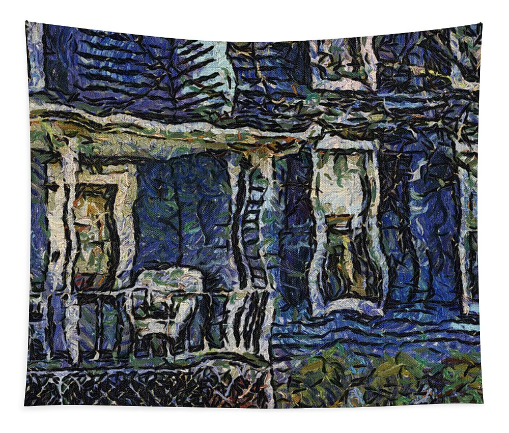 Front Porch Tapestry featuring the photograph Blue Front Porch Photo Art 04 by Thomas Woolworth