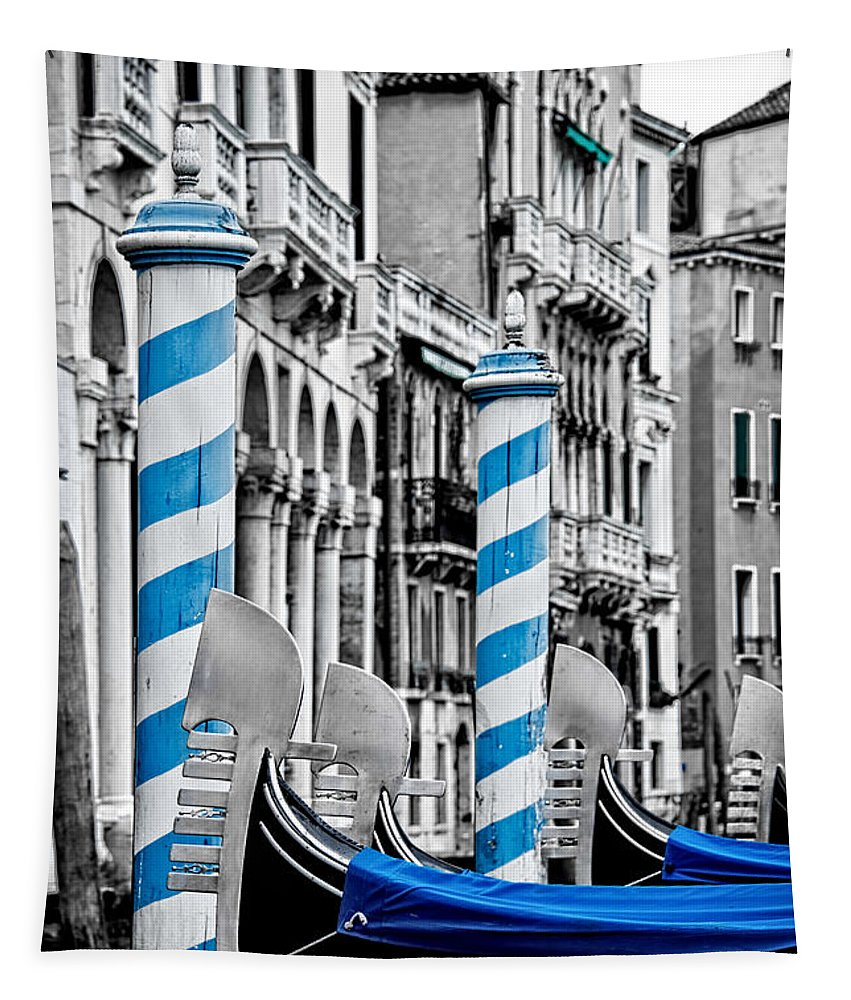 Venice Tapestry featuring the photograph Blue Gondolas by Delphimages Photo Creations
