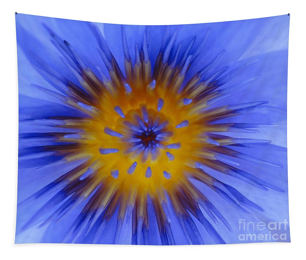 Flower Tapestry featuring the photograph Blue Heart by Ben Yassa