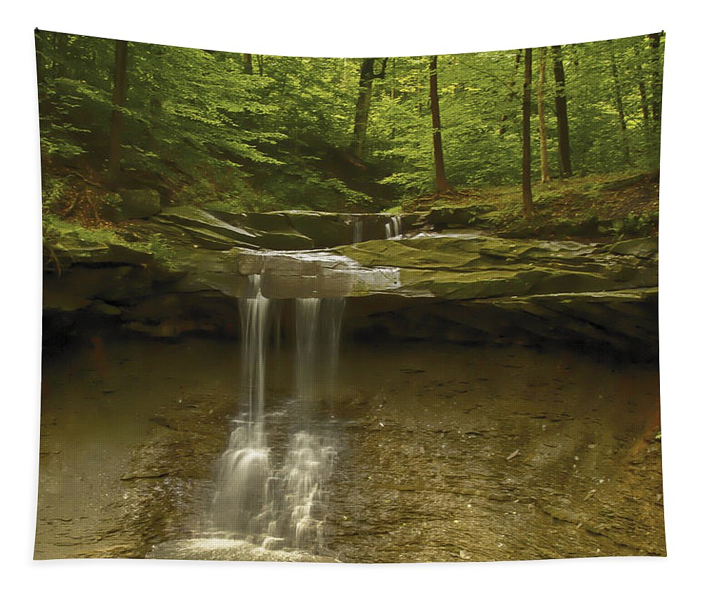 Akron Tapestry featuring the photograph Blue Hen Falls by Jack R Perry