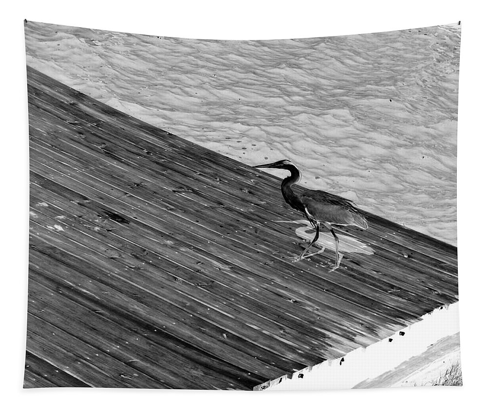 Computer Graphics Tapestry featuring the photograph Blue Heron On Dock - Grayscale by Marian Bell