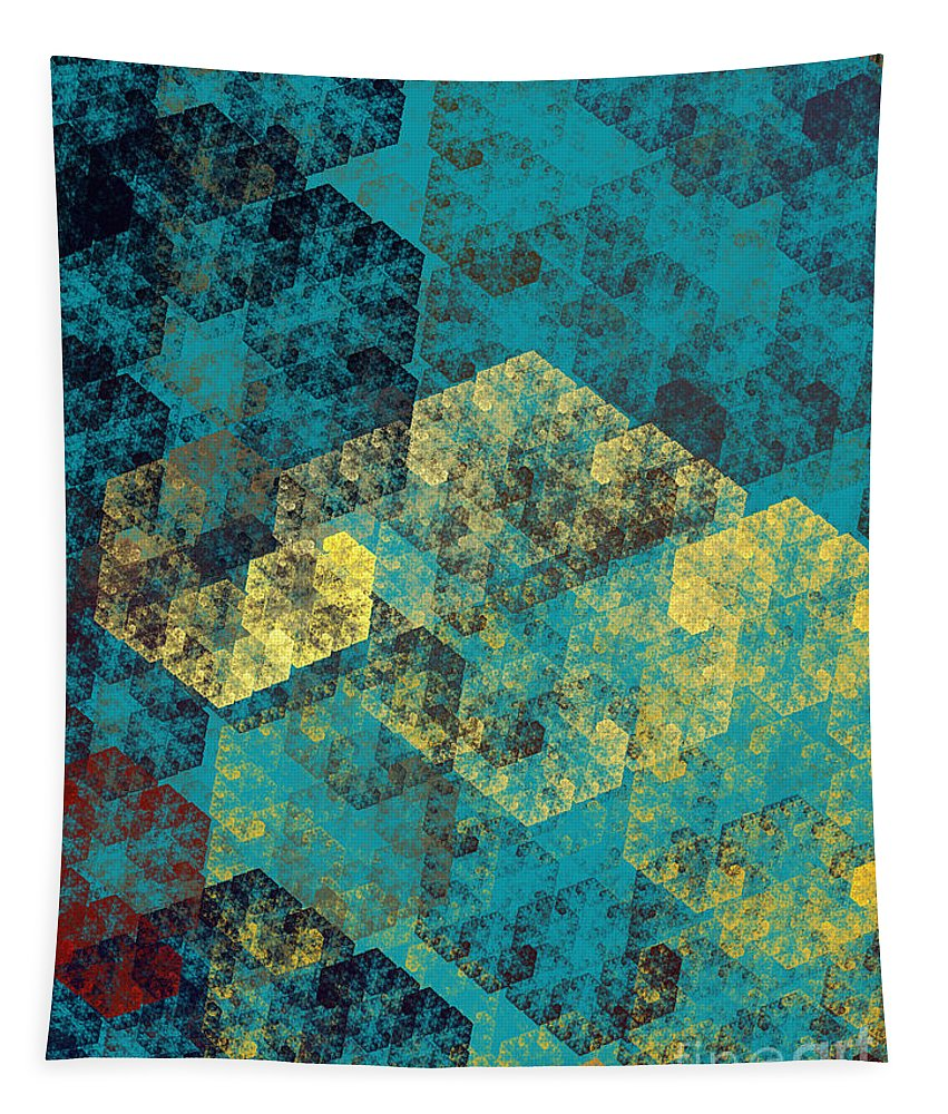Andee Design Abstracts Tapestry featuring the digital art Blue Hexagon Fractal Art 2 Of 3 by Andee Design