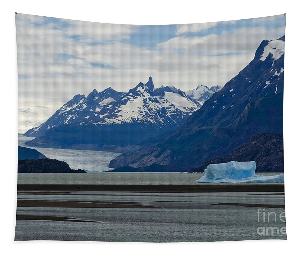 Grey Lake Tapestry featuring the photograph Blue Icebergs On Grey Lake In Patagonia by Ralf Broskvar